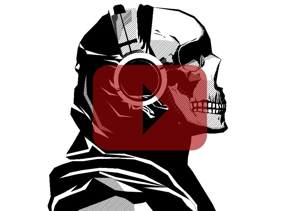 Zeichnung von einem Schädel mit Kopfhörern. Erstellt in CAD.
