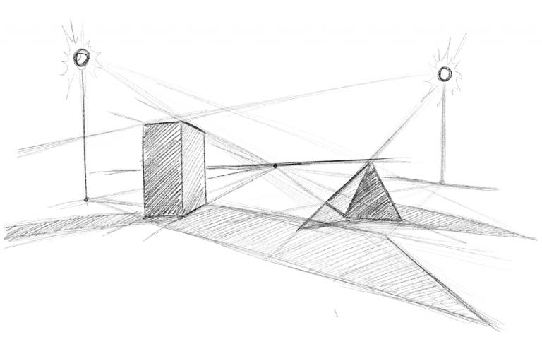 Punktlicht und Schatten von mehreren Lichtquellen zeichnen
