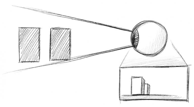Perspektive zeichnen - Auge perspektivisches Sehen