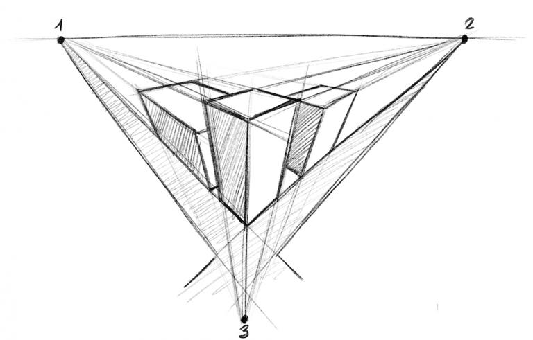 Perspektive zeichnen - Vogelperspektive drei Fluchtpunkte