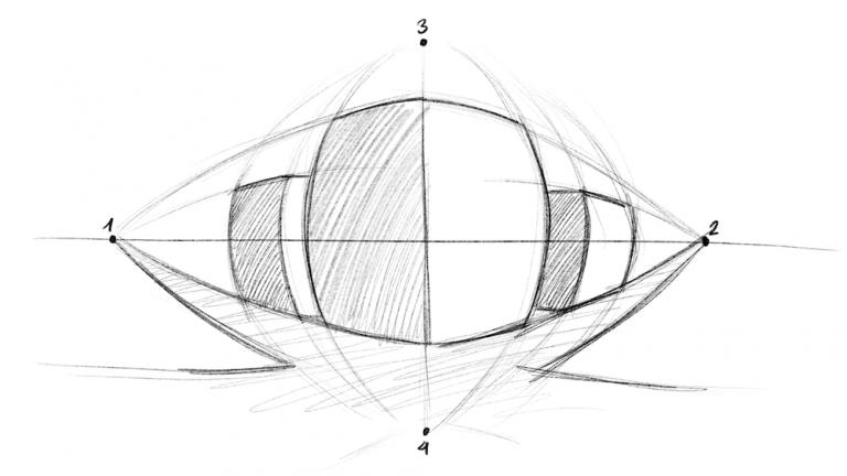 Perspektive zeichnen - Fisheye Effekt mit vier Fluchtpunkten