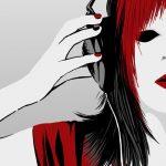 Zeichnung einer Frau mit Kopfhörern