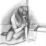Bleistiftzeichnung von einer Sängerin