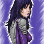 Zeichnung Frau in einem Kampf-Anzug