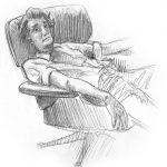 Zeichnung Skizze Mann Sessel
