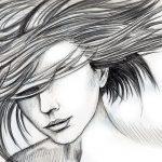 Bleistift-Zeichnung einer Frau mit wehenden Haaren