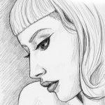 Bleistift-Zeichnung einer blonden Frau