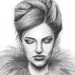 Bleistift-Zeichnung einer Frau