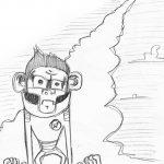 Zeichnung Skizze Astronaut-Affe