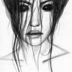 Bleistift-Zeichnung einer Frau mit schwarzen Augen