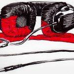 Zeichnung Zu laut Musik gehört