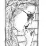 Bleistift-Zeichnung einer Frau mit Sonnenbrille