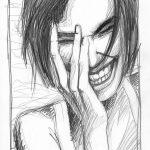 Bleistift-Zeichnung einer lachenden Frau