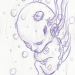 Kugelschreiber-Zeichnung von einem Tech-Baby