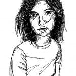 Ein-Strich-Zeichnung einer Frau