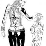 Zeichnung einer Frau mit einem Cyborg