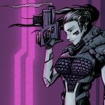 Zeichnung von einer Cyberpunk Frau