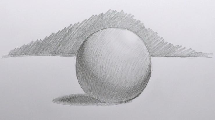 Zeichnung einer 3D Kugel mit Schattierungen