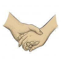 Hände Zeichnung – Händchen Halten – Buntstift