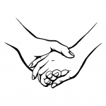Hands Drawing - Hold Hands - Black and White