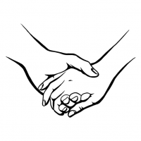 Hände Zeichnung – Händchen Halten – Schwarzweiß