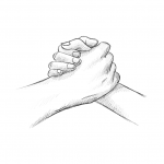Hands drawing - handshake - pencil