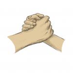 Hands drawing - handshake - crayon
