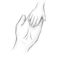 Hände Zeichnung – Mutter Kind – Bleistift