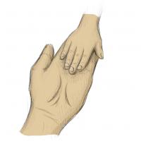 Hände Zeichnung – Mutter Kind – Buntstift