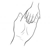 Hände Zeichnung – Mutter Kind – Linien