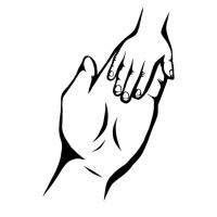 Hände Zeichnung – Mutter Kind – Schwarzweiß