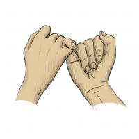 Hände Zeichnung – Versprechen – Buntstift