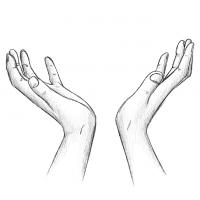 Hände Zeichnung – Zum Himmel – Bleistift