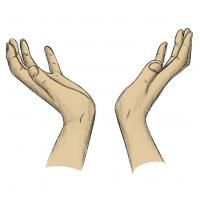 Hände Zeichnung – Zum Himmel – Buntstift