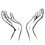 Hands drawing - To the sky - black and white