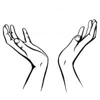 Hände Zeichnung – Zum Himmel – Schwarzweiß