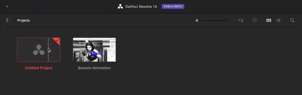 DaVinci Resolve neues Projekt erstellen