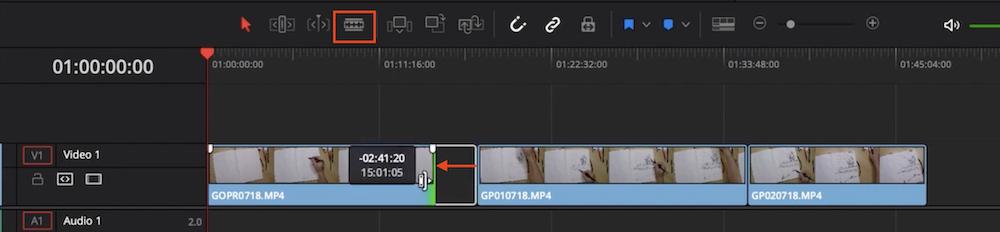 Davinci Resolve Video Länge verändern oder schneiden