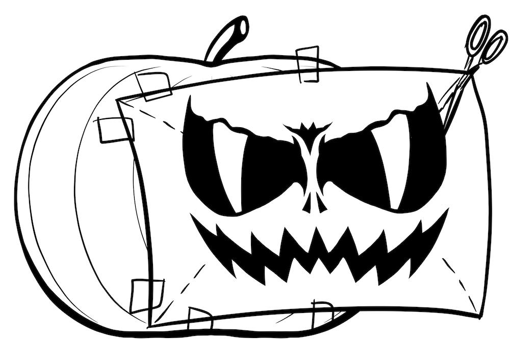 Halloween Kürbis ausdrucken und zuschneiden