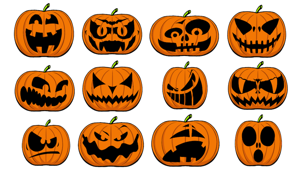 Halloween Kürbis schnitzen Vorlagen und Ausmalbilder