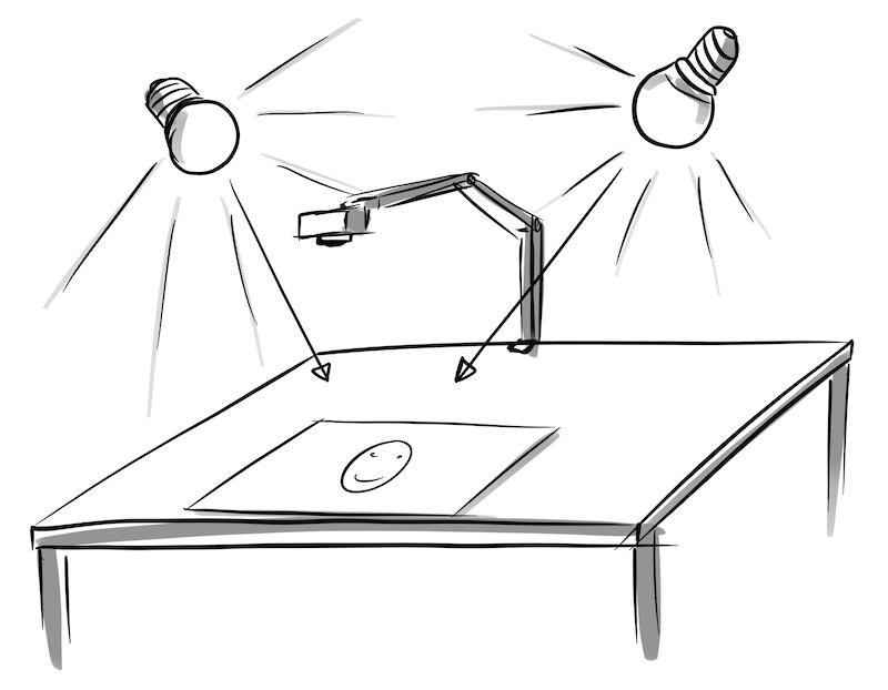Zeichnung auf Video aufnehmen Licht
