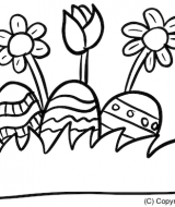 Ostern Kinder Ausmalbild Wiese Ostereier