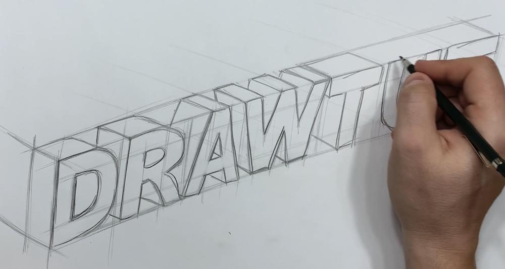 Buchstaben in 3D einzeichnen