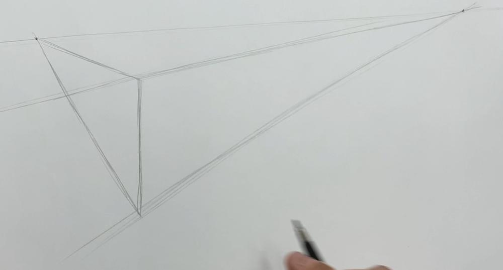 Horizont und 2 Punkt Perspektive einzeichnen