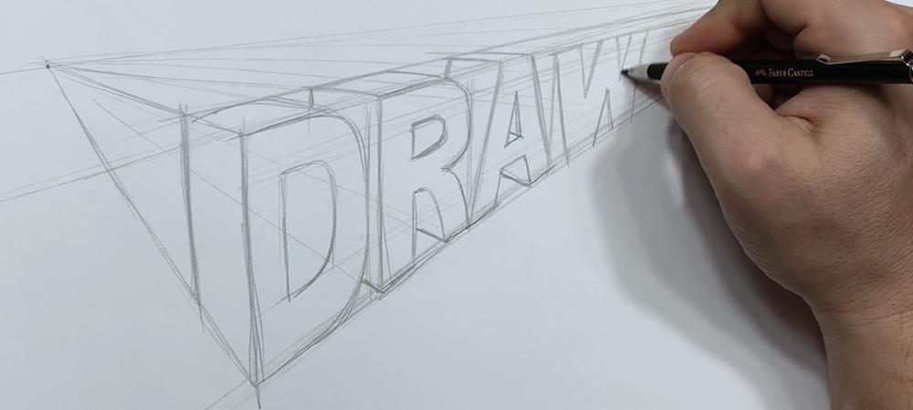 Text in 3D mit den beiden Fluchtpunkten einzeichnen