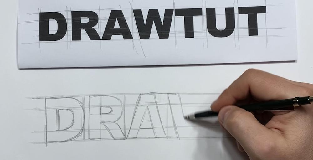 Text zunächst in 2D zeichnen