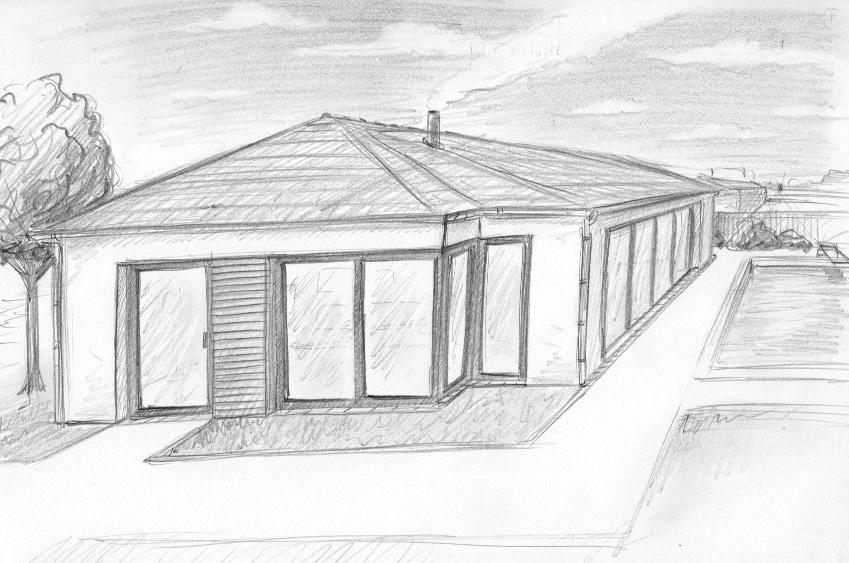 Zeichnung 1-Punkt Perspektive Haus
