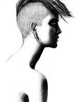 Bleistift Zeichnung Frau Punk