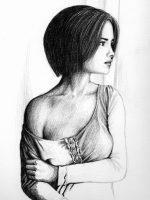 Bleistift Zeichnung Frau Unfertig