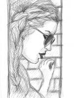 Bleistift Zeichnung Frau mit Sonnenbrille